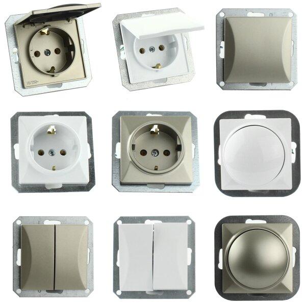 Steckdose Lichtschalter Taster ohne Rahmen Unterrputz Jalousieschalte